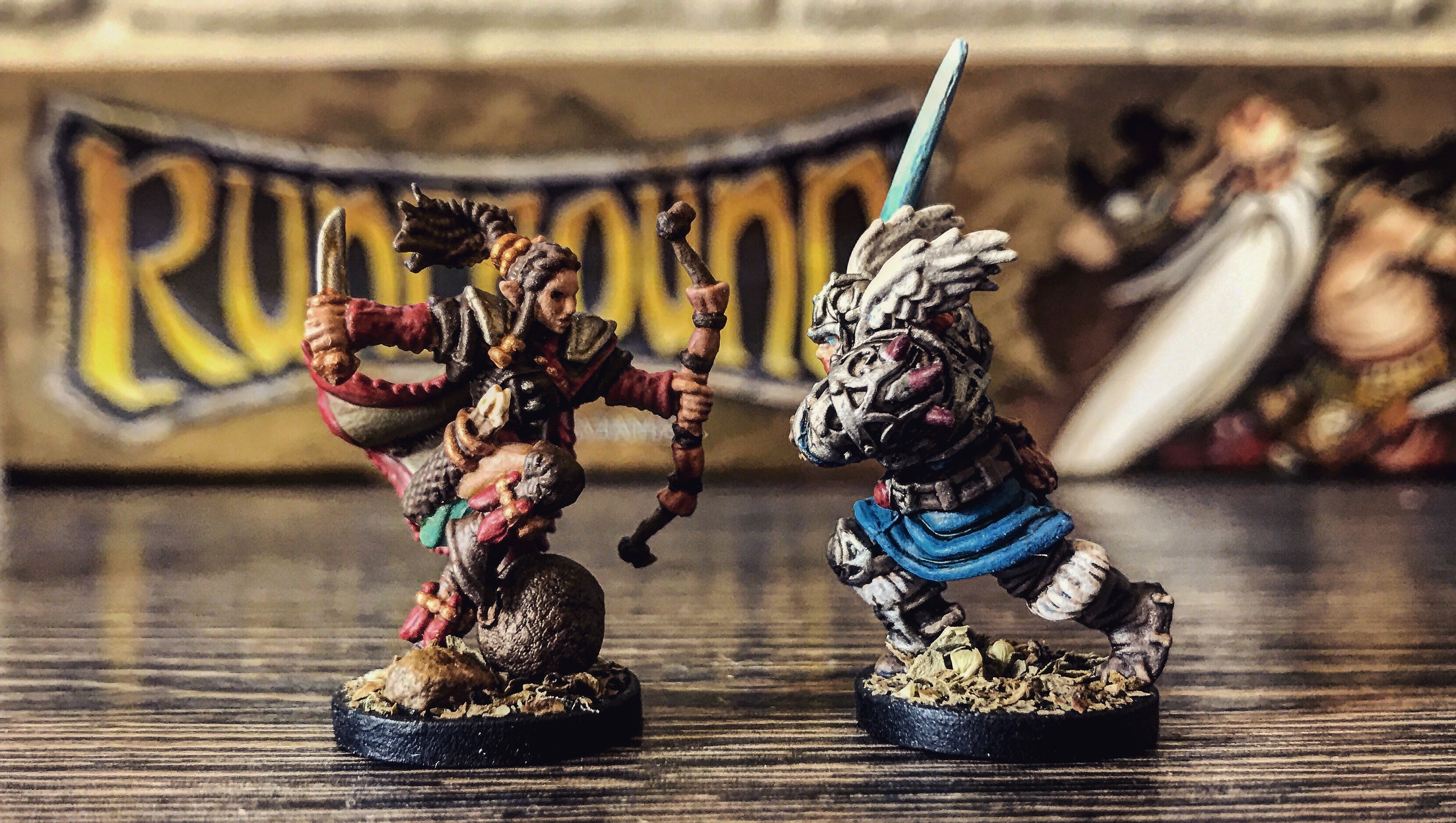 Runebound miniatures painted with bases